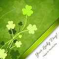 St patricks day background with clover and green ribbon Royalty Free Stock Photos