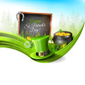 St patricks day background with green hat and old pot with coinsin grass greeting card with copyspace Stock Photography