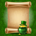 St patricks day background with vintage scroll paper vector illustration Stock Photo