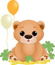 St patricks day bear an illustration featuring a with balloons and clovers Stock Photography