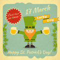 St patricks day card with leprechaun beer party illustration Stock Photo
