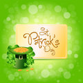St. Patricks Day Card with  Leprechaun Hat Royalty Free Stock Photos