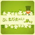 St patricks day card with shamrock and leprechaun hand lettering illustration Royalty Free Stock Images