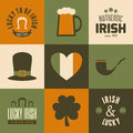 St patricks day cards collection a of nine greeting for Stock Image