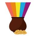 St patricks day cauldron rainbow with coins