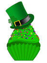 St Patricks Day Cupcake with Colorful Sprinkles Stock Images