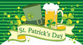 St patricks day glass of beer clover and a hat as symbols of the of patrick Royalty Free Stock Image