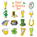 St Patricks Day hand drawn doodle icons set, with leprechaun, pot of gold coins, rainbow, beer, four leaf clover, horseshoe, celti