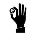 St patricks day hand holding coin clover pictogram