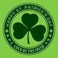 St. Patricks Day Holiday poster, banner, label, badge, emblem or greeting card design. Vector illustration