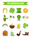 St. Patricks Day icon set design element. Traditional irish symbols in modern flat style. Isolated on white background