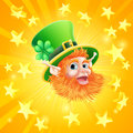St patricks day leprechaun background a patrick's with leprechauns face in the centre of orange explosion of gold stars Royalty Free Stock Photos