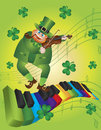 St patricks day leprechaun dancing on piano keyboard playing violin rainbow colors wavy shamrock background illustration Royalty Free Stock Image