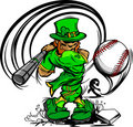 St. Patricks Day Leprechaun Swinging Baseball Bat Royalty Free Stock Images