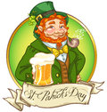 St. Patricks Day logo design with Leprechaun man Stock Images
