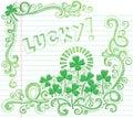 St Patricks Day Lucky Four Leaf Clover Doodle