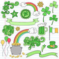 St Patricks Day Notebook Doodle Icon Set Vector Royalty Free Stock Photography