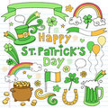 St Patricks Day Notebook Doodle Icon Set Vector Royalty Free Stock Photos