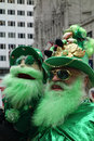 St patricks day parade a man and his puppet dressed as leprechauns attend the in new york city Royalty Free Stock Image