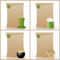 St patricks day parchment set of four old blank parchments for Stock Photos