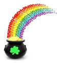 St patricks day pot of gold with colorful shamrock rainbow Royalty Free Stock Image