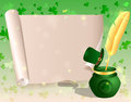 St patricks day scroll of paper and golden pen ink mark beautiful background with shamrocks Stock Image