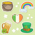 St Patricks Day stickers with lucky clover Royalty Free Stock Photography
