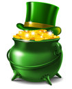 St patricks day symbols leprechaun hat and pot of gold vector illustration Royalty Free Stock Photo