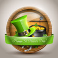 St patricks day vector icon with green hat and pot with coins in front of the beer barrel Stock Photos