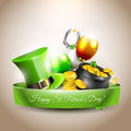 St patricks day vector icon with hat gold coins in the pot and balloons in the colors of the irish flag Stock Image