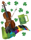 St patricks day violin with colorful piano keyboar rainbow colors wavy keyboard shamrock and green beer isolated on white Stock Images