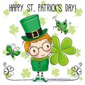 St Patricks greeting card with leprechaun