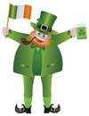 St Patricks Leprechaun with Flag and Beer Stock Photography