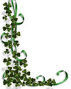 St Patty's  day border Shamrocks ribbons Royalty Free Stock Image