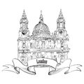 St paul cathedral london uk travel famous city label hand drawn illustration vector vintage background Stock Image