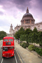 St. Paul's Cathedral and double-decker Stock Image