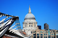 St paul s cathedral and the millennium bridge in london england uk linking bankside with city across river thames Stock Photography