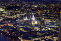 St pauls cathederal at night top view of catherderal Stock Photo