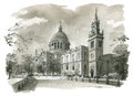 St Pauls Cathedral Illustration Stock Photography