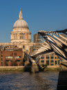 St pauls cathedral and millennium bridge london view of the from the south bank of the river thames england Royalty Free Stock Images