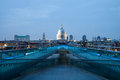 St Pauls cathedral view from the Millennium Bridge, London Royalty Free Stock Photo