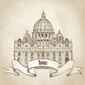 St peter cathedral rome italy famous landmark travel label hand drawn illustration isolated on old paper background saint pietro Royalty Free Stock Photo