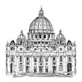 St peter cathedral rome italy famous landmark travel label hand drawn illustration isolated on white background saint pietro Royalty Free Stock Photography