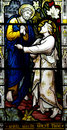 St. Peter meets Jesus (stained glass) Royalty Free Stock Photo