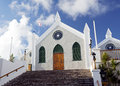 St peter s anglican church st george bermuda view of the facade and staircase of in is the oldest in Royalty Free Stock Images