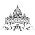 St peter s cathedral rome italy famous landmark travel label hand drawn illustration isolated on old paper background saint pietro Royalty Free Stock Photo