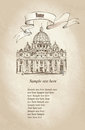 St peter s cathedral rome italy famous landmark travel old fashioned wallpaper hand drawn illustration isolated on paper Stock Photo