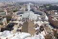 St peter square from roof of st peter s basilica dome rome italy Stock Photo