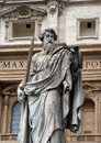 St peter statue in front of st peter s basilica in vatican outside Royalty Free Stock Photos