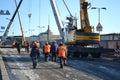 St peterburg russia march repair work palace bridge sunny winter day st petersburg russia Stock Image